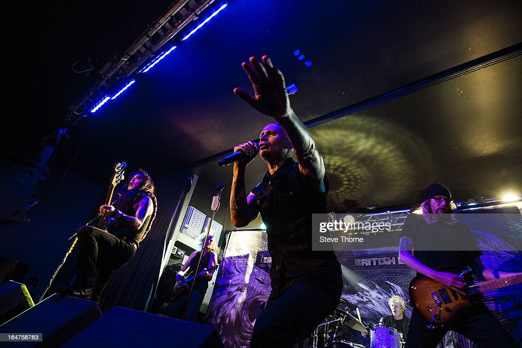 Steve Harris, Richard Taylor and Grahame Leslie of British Lion perform on stage on March 27, 2013 in Birmingham, England.