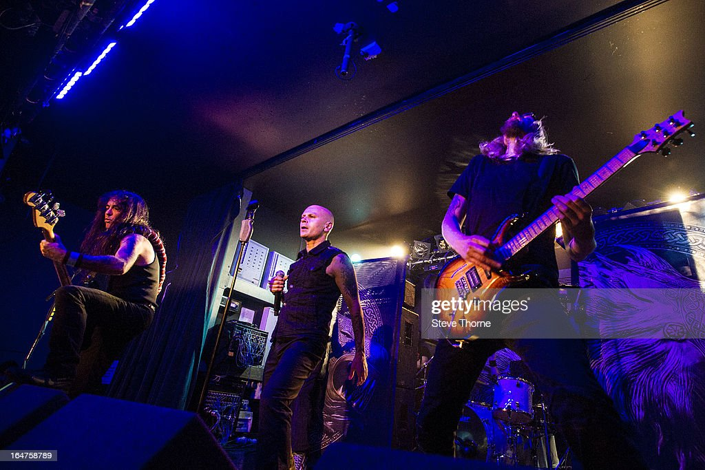 Steve Harris, Richard Taylor and Grahame Leslie of British Lion perform on stage on March 27, 2013 in Birmingham, England.