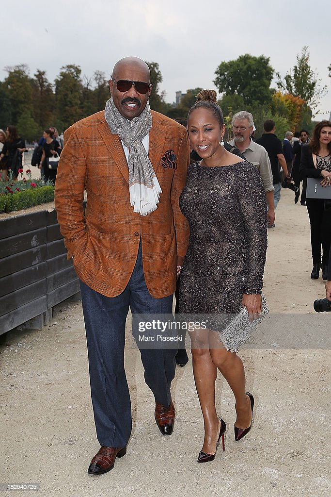 <a gi-track='captionPersonalityLinkClicked' href=/galleries/search?phrase=Steve+Harvey&family=editorial&specificpeople=210865 ng-click='$event.stopPropagation()'>Steve Harvey</a> and wife Marjorie Harvey attend the Elie Saab show as part of the Paris Fashion Week Womenswear Spring/Summer 2014 on September 30, 2013 in Paris, France.