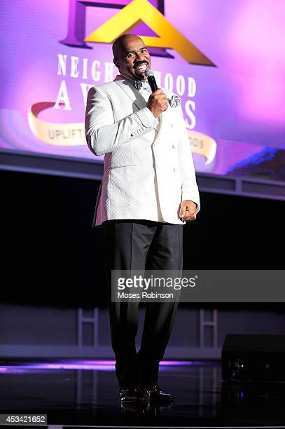 Steve Harvey attends the 2014 Ford Neighborhood Awards Hosted By Steve Harvey at the Phillips Arena on August 9 2014 in Atlanta Georgia