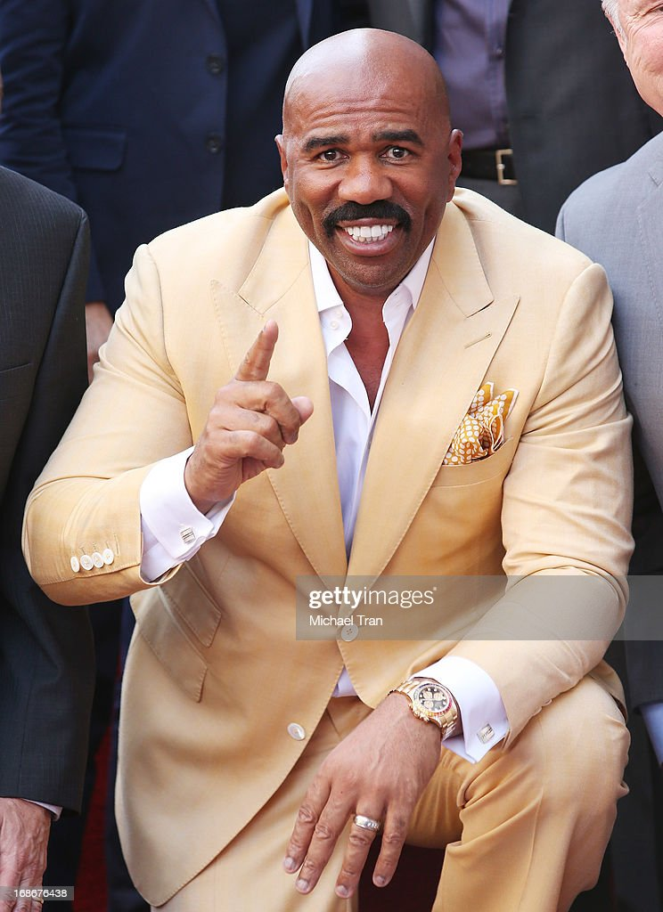 <a gi-track='captionPersonalityLinkClicked' href=/galleries/search?phrase=Steve+Harvey&family=editorial&specificpeople=210865 ng-click='$event.stopPropagation()'>Steve Harvey</a> attends the ceremony honoring him with a Star on The Hollywood Walk of Fame held on May 13, 2013 in Hollywood, California.