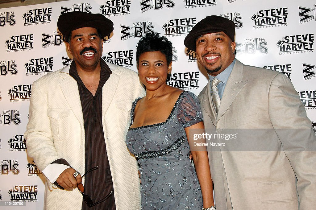 Steve Harvey, Jacque Reid and Tommy Miles during 'Don't Trip...He Ain't Through With Me Yet' New York Premiere at Magic Johnson Harlem Theate in New York City, New York, United States.
