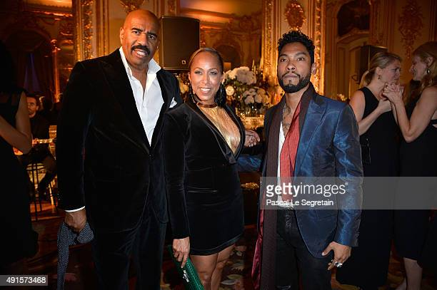 Steve Harvey Marjorie Harvey and Miguel attend a cocktail party hosted by the US Ambassador to France and Monaco to celebrate ELLE US's 30th...