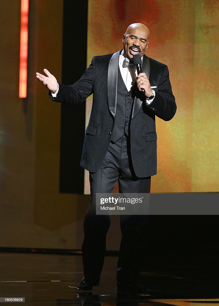 Steve Harvey speaks at the 44th NAACP Image Awards - show held at The Shrine Auditorium on February 1, 2013 in Los Angeles, California.