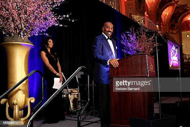 Steve Harvey speaks on stage at the 2014 Steve Marjorie Harvey Foundation Gala presented by CocaCola at the Hilton Chicago on May 3 2014 in Chicago...