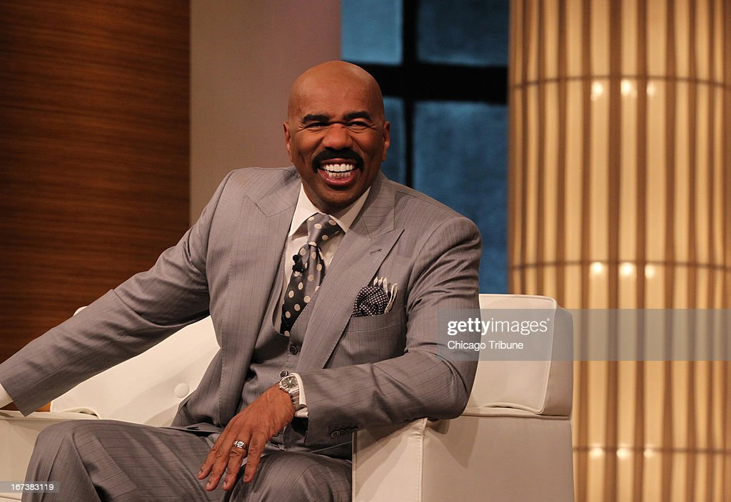 Steve Harvey talks to the audience during a taping of his show in Chicago, Illinois, on April 23, 2013.