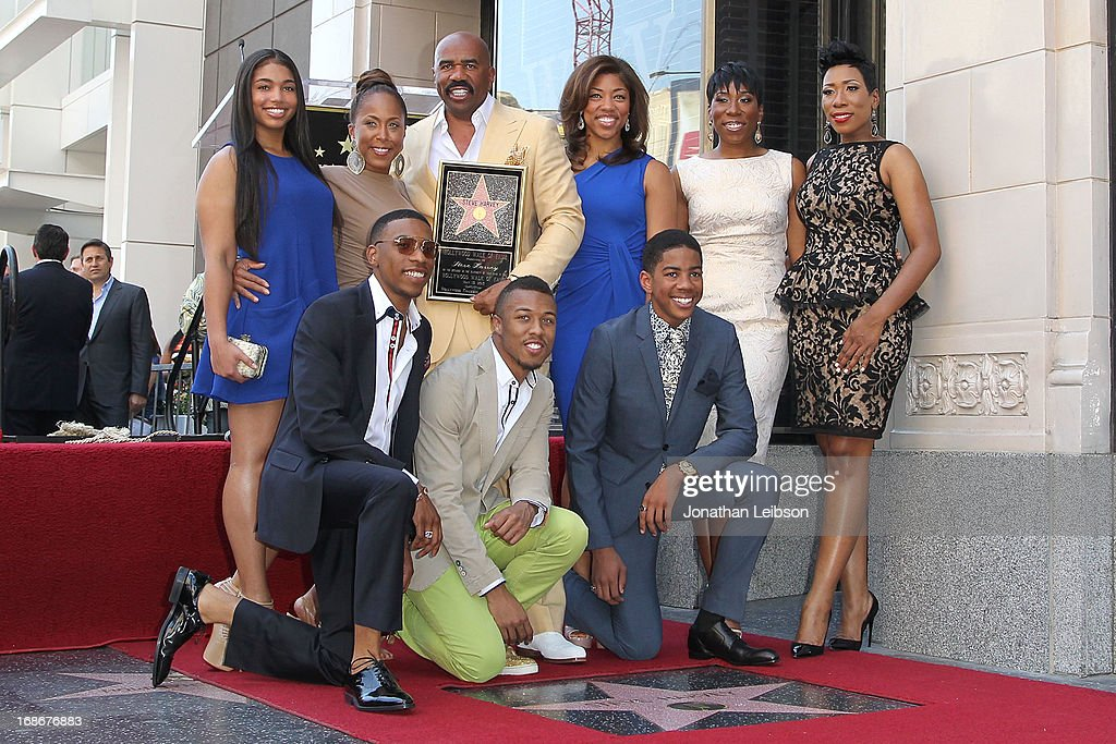 <a gi-track='captionPersonalityLinkClicked' href=/galleries/search?phrase=Steve+Harvey&family=editorial&specificpeople=210865 ng-click='$event.stopPropagation()'>Steve Harvey</a> with his family attend the ceremony honoring him with a Star on The Hollywood Walk of Fame held on May 13, 2013 in Hollywood, California.