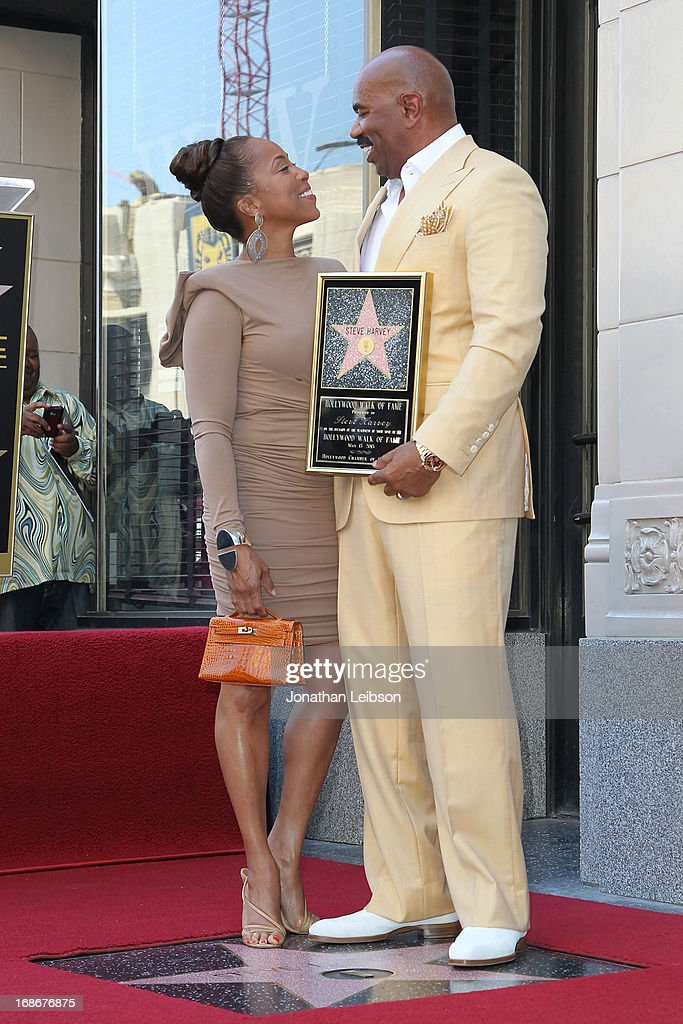 <a gi-track='captionPersonalityLinkClicked' href=/galleries/search?phrase=Steve+Harvey&family=editorial&specificpeople=210865 ng-click='$event.stopPropagation()'>Steve Harvey</a> with his wife, Marjorie Bridges attend the ceremony honoring <a gi-track='captionPersonalityLinkClicked' href=/galleries/search?phrase=Steve+Harvey&family=editorial&specificpeople=210865 ng-click='$event.stopPropagation()'>Steve Harvey</a> with a Star on The Hollywood Walk of Fame held on May 13, 2013 in Hollywood, California.