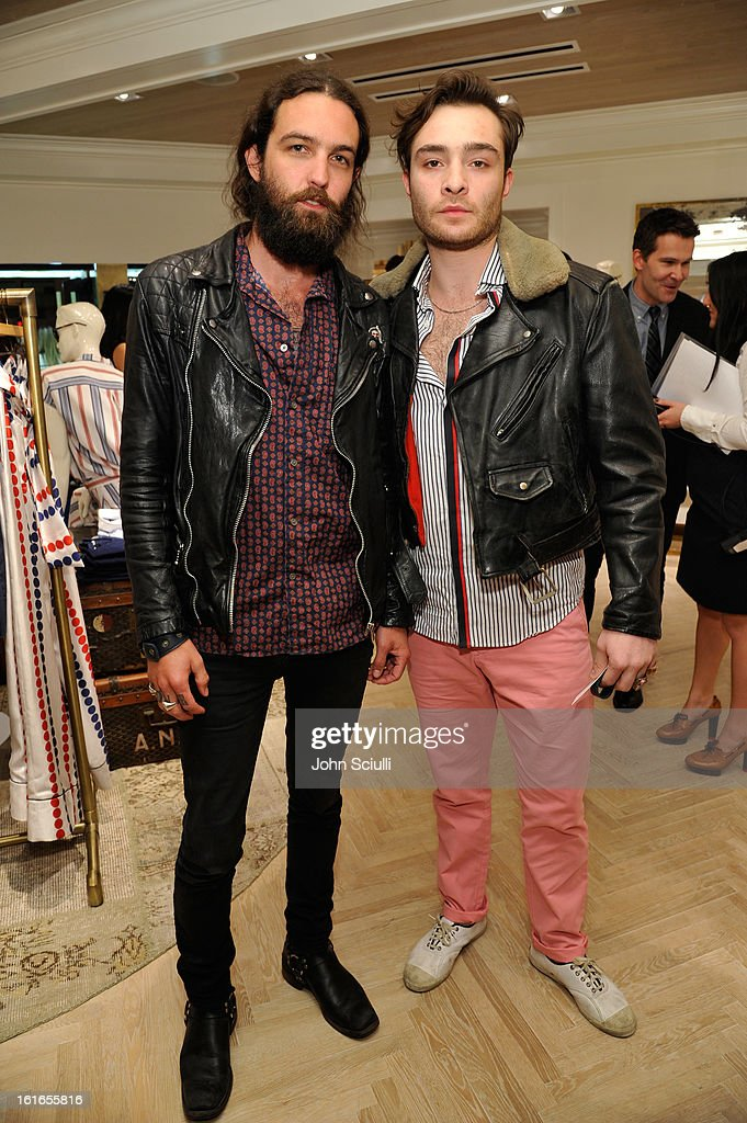 Steve Hash and actor <a gi-track='captionPersonalityLinkClicked' href=/galleries/search?phrase=Ed+Westwick&family=editorial&specificpeople=3974832 ng-click='$event.stopPropagation()'>Ed Westwick</a> attend Tommy Hilfiger New West Coast Flagship Opening on Robertson Boulevard on February 13, 2013 in West Hollywood, California.