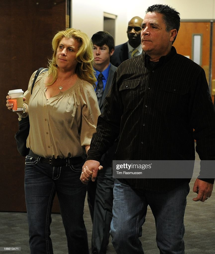 Steve Hernandez, father of slain victim Rebecca Wingo enter the second floor of the Arapahoe County Courthouse, Friday, January 11, 2013 on their way to the courtroom. In court Hernandez shouted out 'rot in hell, Holmes.' The arraignment for Aurora theater shooting suspect James Holmes was postponed until March 2013 for the July 20 shooting at the Century 16 theater that killed 12 people and injured 70 others.