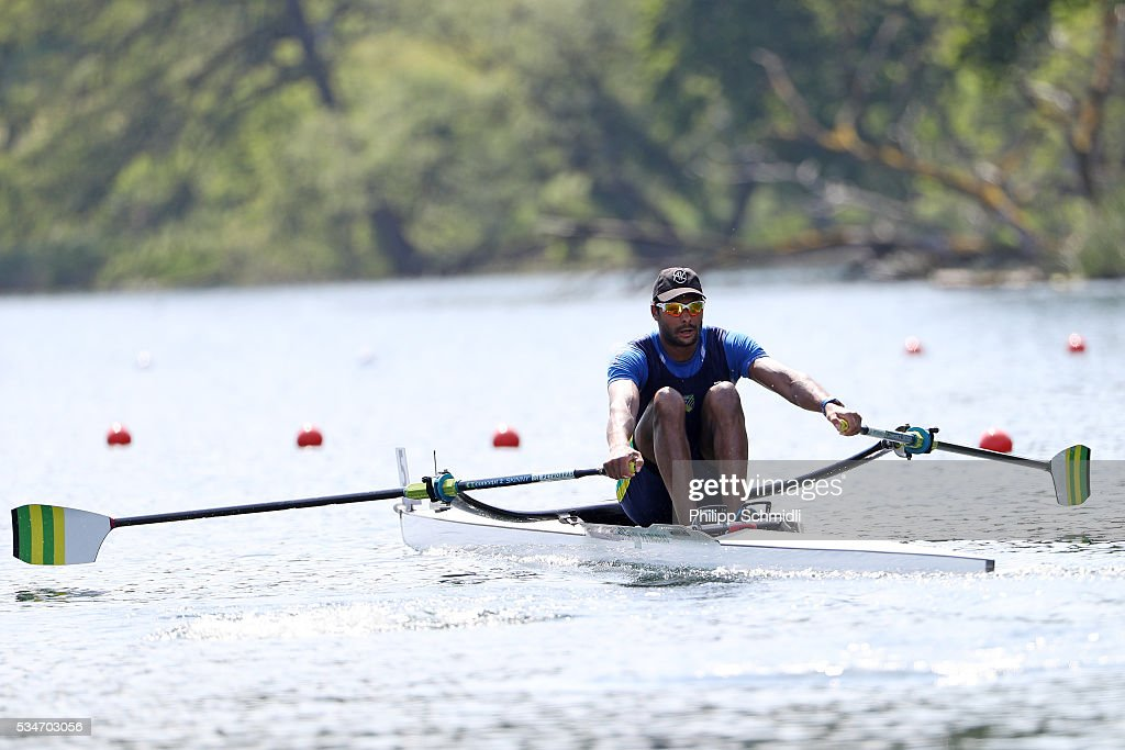 Steve Hiestand of Brazil competes in the Men's Single Sculls quarterfinals during day 1 of the 2016 World Rowing Cup II at Rotsee on May 27, 2016 in Lucerne, Switzerland.