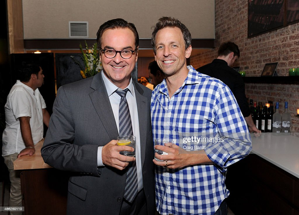 Steve Higgins and Seth Meyers attend 'The Awesomes' Season 3 Premiere Party & Screening at Microsoft Lounge on September 2, 2015 in New York City.