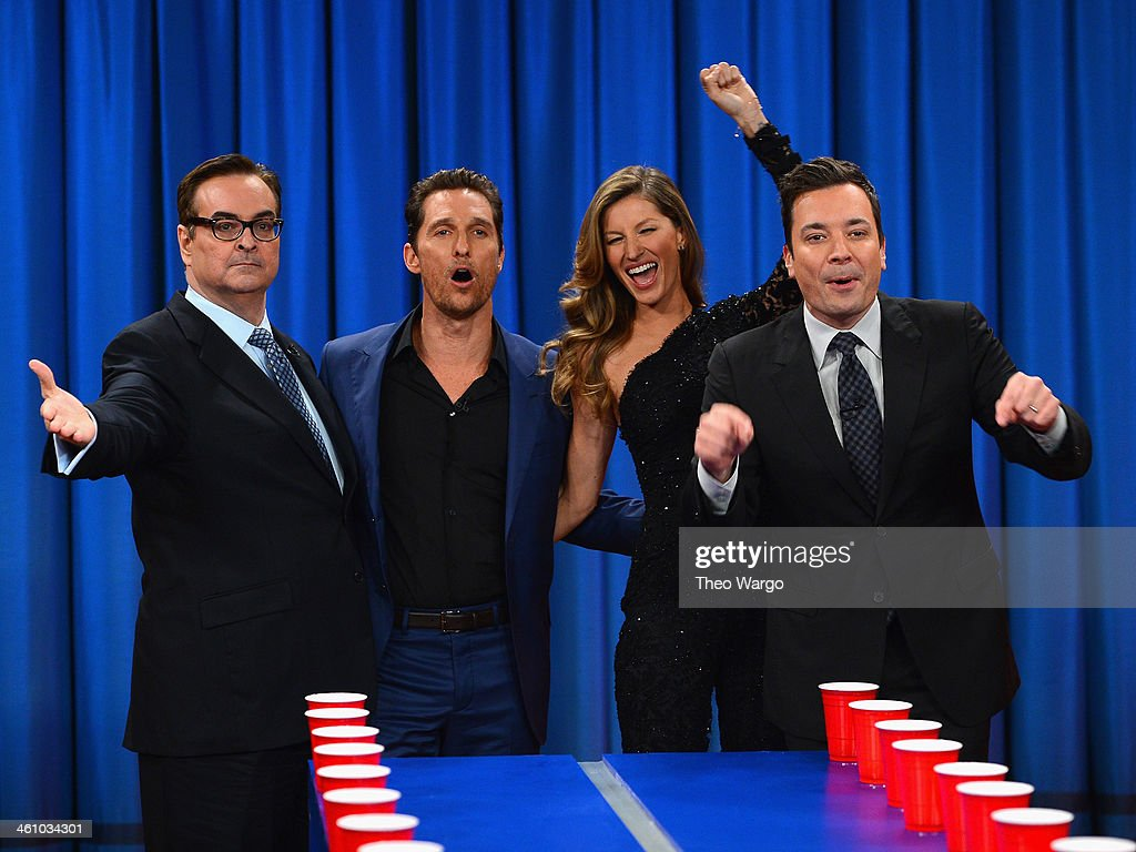 Steve Higgins, Matthew McConaughey, Gisele Bündchen and Jimmy Fallon during a taping of 'Late Night With Jimmy Fallon' at Rockefeller Center on January 6, 2014 in New York City.