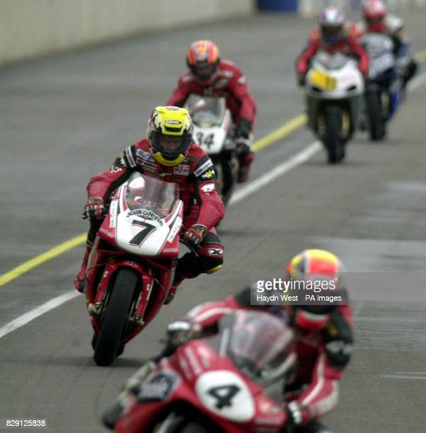 Steve Hislop prior to his crash during the British Superbike Championship race at Rockingham Motor Speedway Corby Steve Hislop was involved in a...