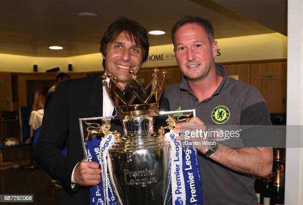 Steve Holland and Antonio Conte Manager of Chelsea celebrate winning the league following the Premier League match between Chelsea and Sunderland at...