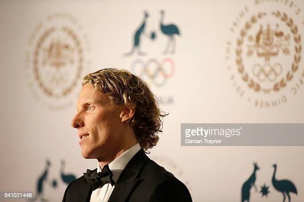 Steve Hooker arrives at the Prime Minister's Olympic Dinner at The Melbourne Convention and Exhibition Centre on June 18 2016 in Melbourne Australia