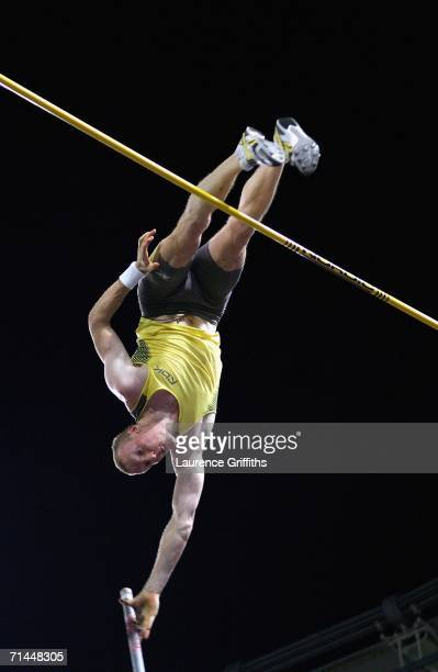 Steve Hooker of Australia on his way to 2nd place in the Mens Pole Vault during the IAAF Golden League Golden Gala meeting on July 14 2006 at the...