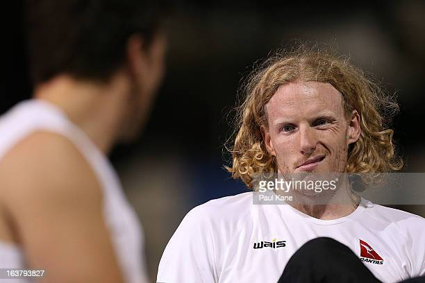 Steve Hooker of Australia talks with Steve Lewis of Great Britain in the mens open pole vault during the Perth Track Classic at the WA Athletics...