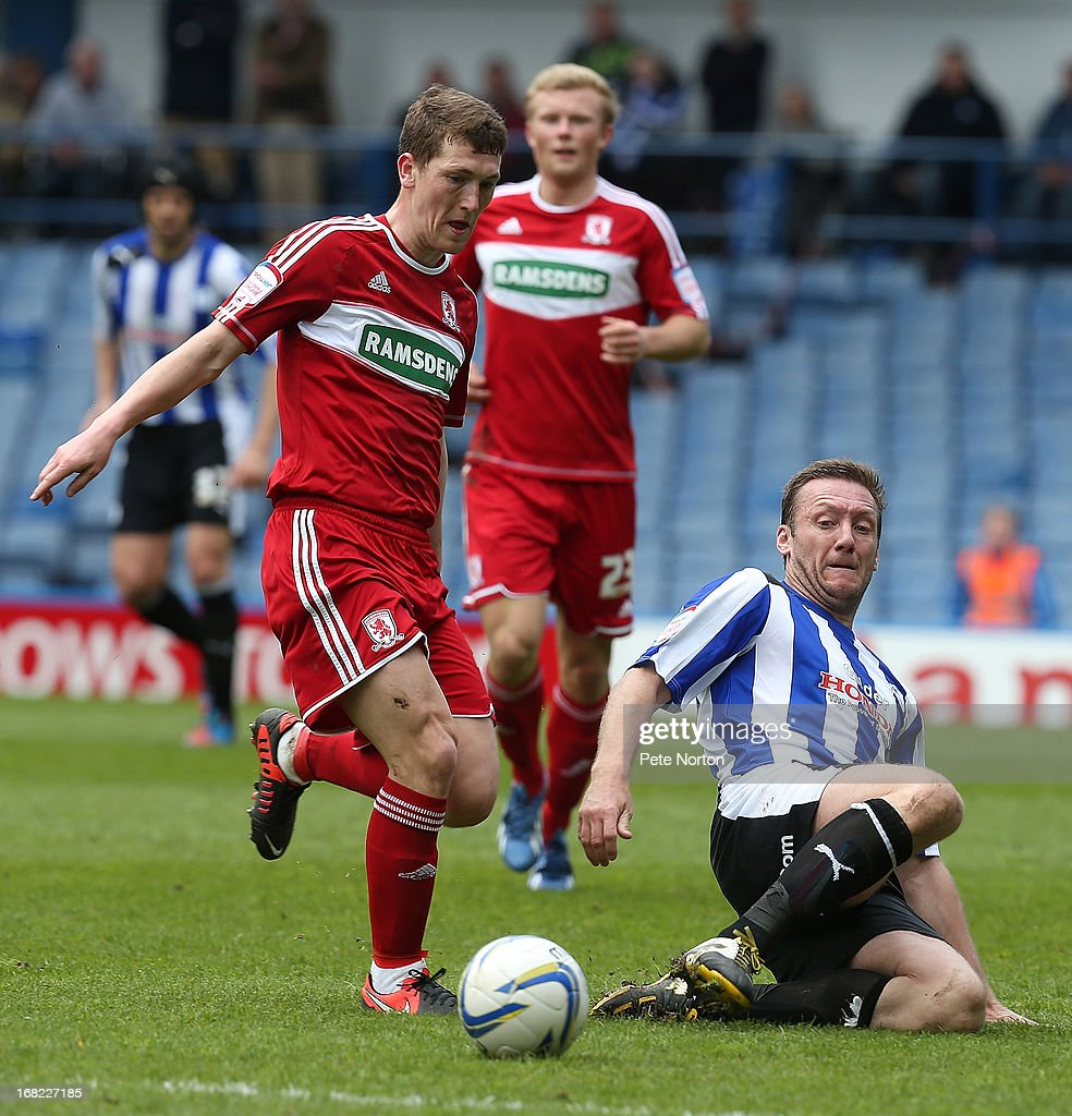 <a gi-track='captionPersonalityLinkClicked' href=/galleries/search?phrase=Steve+Howard&family=editorial&specificpeople=722193 ng-click='$event.stopPropagation()'>Steve Howard</a> of Sheffield Wednesday contests the ball with Richard Smallwood of Middlesbrough during the npower Championship match between Sheffield Wednesday and Middlesbrough at Hillsborough Stadium on May 4, 2013 in Sheffield, England.