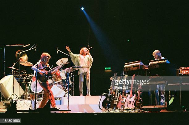 Steve Howe Jon Anderson and Rick Wakeman of Yes perform on stage at Wembley Arena on October 28th 1978 in London England
