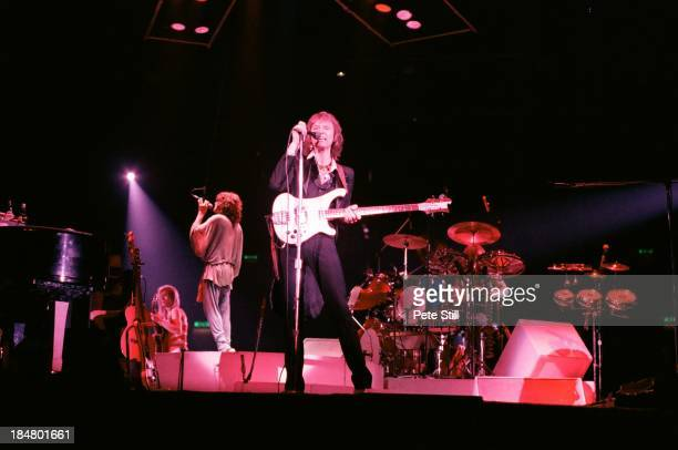Steve Howe Jon Anderson Chris Squire and drummer Alan White of Yes perform on stage at Wembley Arena on October 28th 1978 in London England a