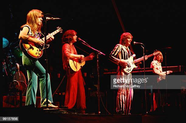 Steve Howe Jon Anderson Chris Squire and Rick Wakeman of Yes perform live at The Oakland Coliseum in 1977 in Oakland California