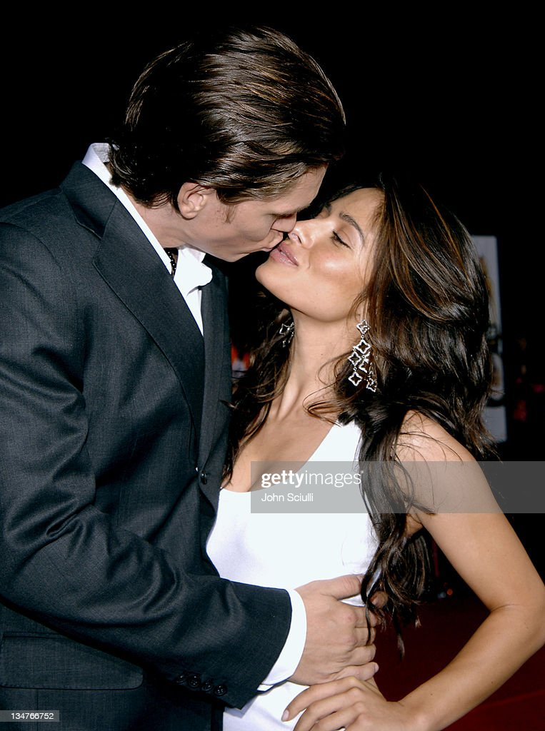 Steve Howey and Sarah Shahi during 'Supercross' Los Angeles Premiere Red Carpet at Veterans Administration Complex in Westwood California United...