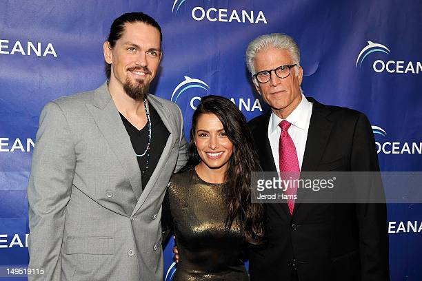 Steve Howey Sarah Shahi and Ted Danson arrive at 2012 Oceana's SeaChange Summer Party on July 29 2012 in Laguna Beach California