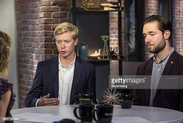 Steve Huffman chief executive officer and cofounder of Reddit Inc left speaks as Alexis Ohanian chairman and cofounder of Reddit Inc listens during a...