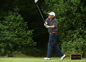 Steve Humphries of West Middlesex Golf Club tees off from the 2nd hole during the The Lombard Trophy South Qualifier at Walton Heath Golf Club on...