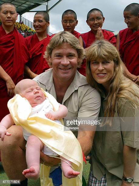 Steve Irwin and wife Terri with and baby son Bob at a blessing ceremony by Tibetan Buddhist nuns for the Irwin youngster