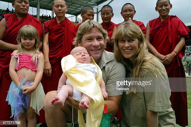 Steve Irwin and wife Terri with daughter Bindi and baby son Bob at a blessing ceremony by Tibetan Buddhist nuns for the Irwin youngster