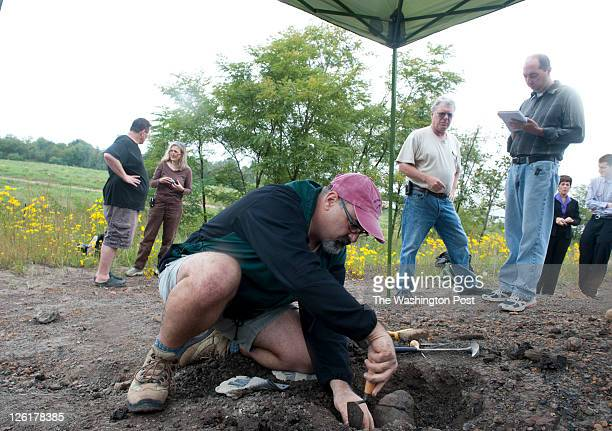 Steve Jabo fossil preparator for the Smithsonian at the dig site at Dinosaur Park in Laurel Maryland on September 21 2011 Researchers from the...