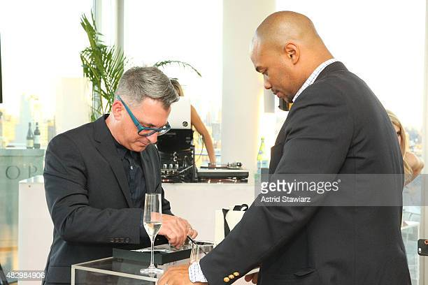 Steve Jarvis inspects a Vector Smartwatch during the Vector Smartwatch NYC Press Launch on August 4 2015 in New York City