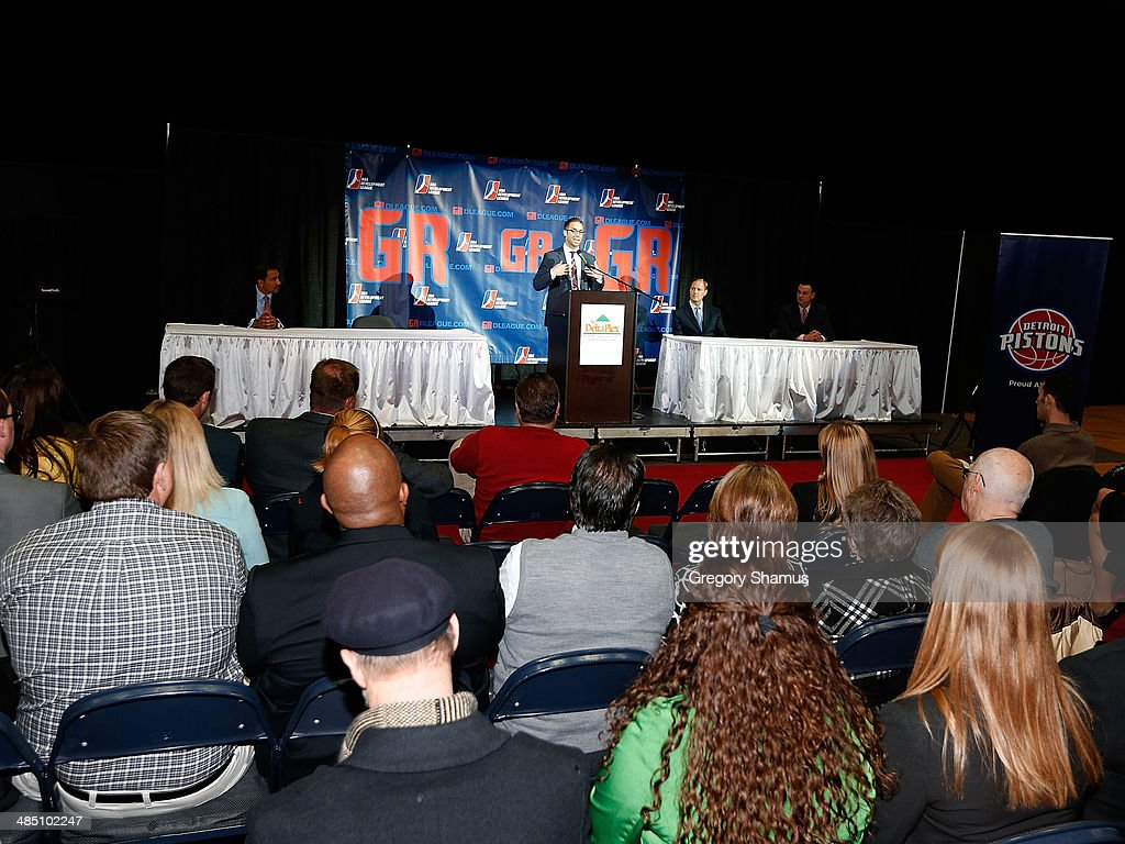 Steve Jbara of the ownership group in Grand Rapids speaks during a press conference to announce a NBA Developmental League franchise relocating to Grand Rapids, Michigan on April 14, 2014 at the DeltaPlex Arena in Grand Rapids, Michigan.