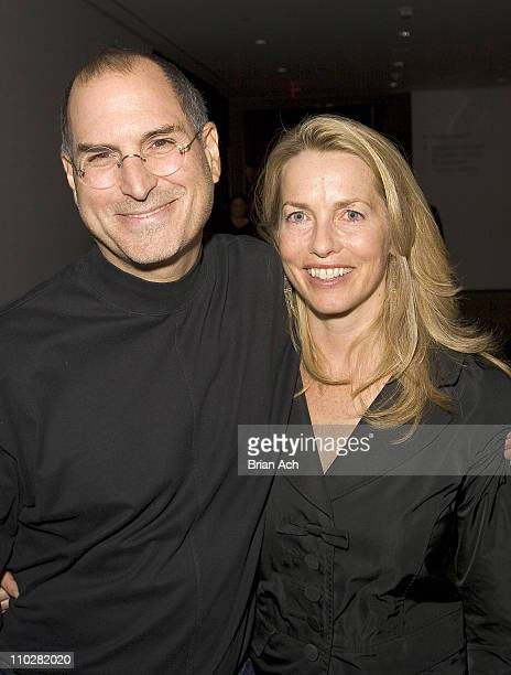Steve Jobs and Laurene Powell during Pixar Exhibit Launch at The Museum of Modern Art at The Museum of Modern Art in New York City New York United...