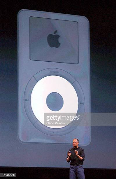 Steve Jobs CEO of Apple announced Windows compatibility for the companies successful iPod music player during the keynote address at MacWorld in New...