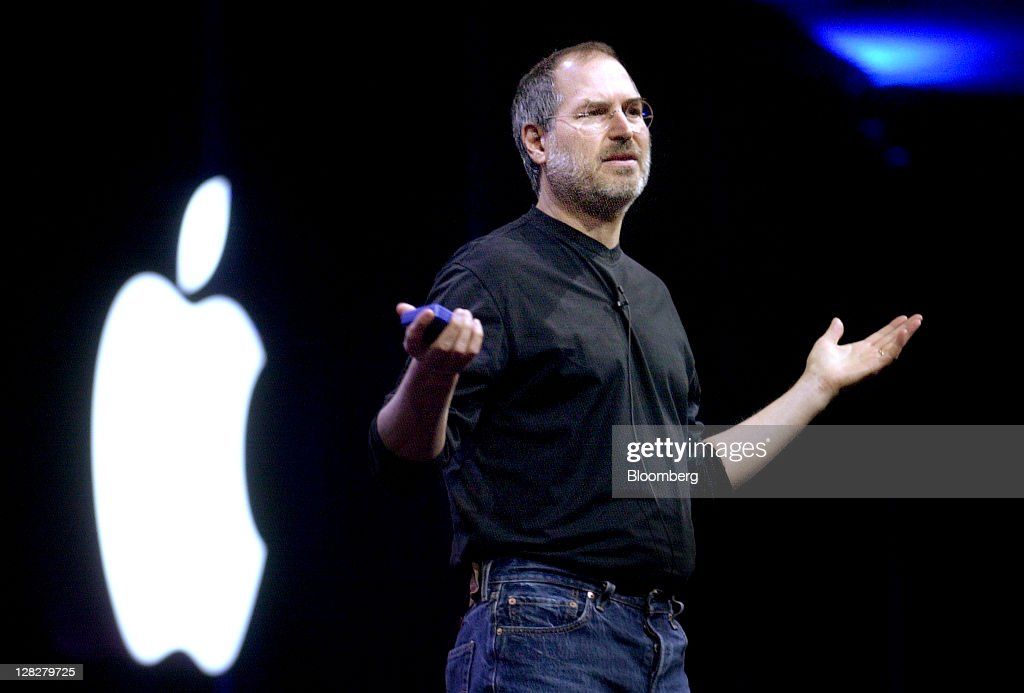 <a gi-track='captionPersonalityLinkClicked' href=/galleries/search?phrase=Steve+Jobs&family=editorial&specificpeople=204493 ng-click='$event.stopPropagation()'>Steve Jobs</a>, chief executive officer and co-founder of Apple Inc., delivers a keynote address at his company's Worldwide Developer Conference in San Francisco, California, U.S., on Monday, June 23, 2003. Jobs, who built the world's most valuable technology company by creating devices that changed how people use electronics and revolutionized the computer, music and mobile-phone industries, died Wednesday, Oct. 5, 2011. He was 56. Photographer: Noah Berger/Bloomberg via Getty Images