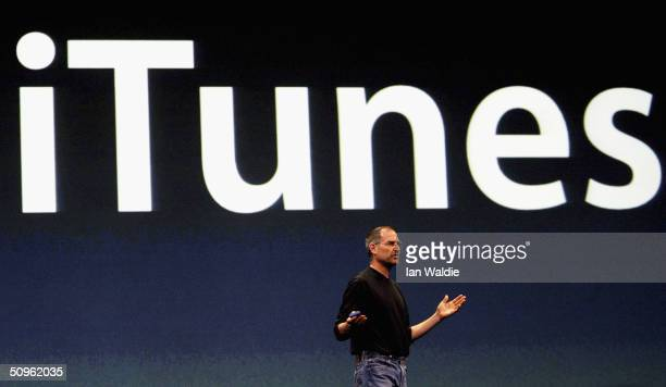 Steve Jobs Chief Executive Officer of Apple computers launches iTunes Music Store in the territories of Great Britain Germany and France on June 15...