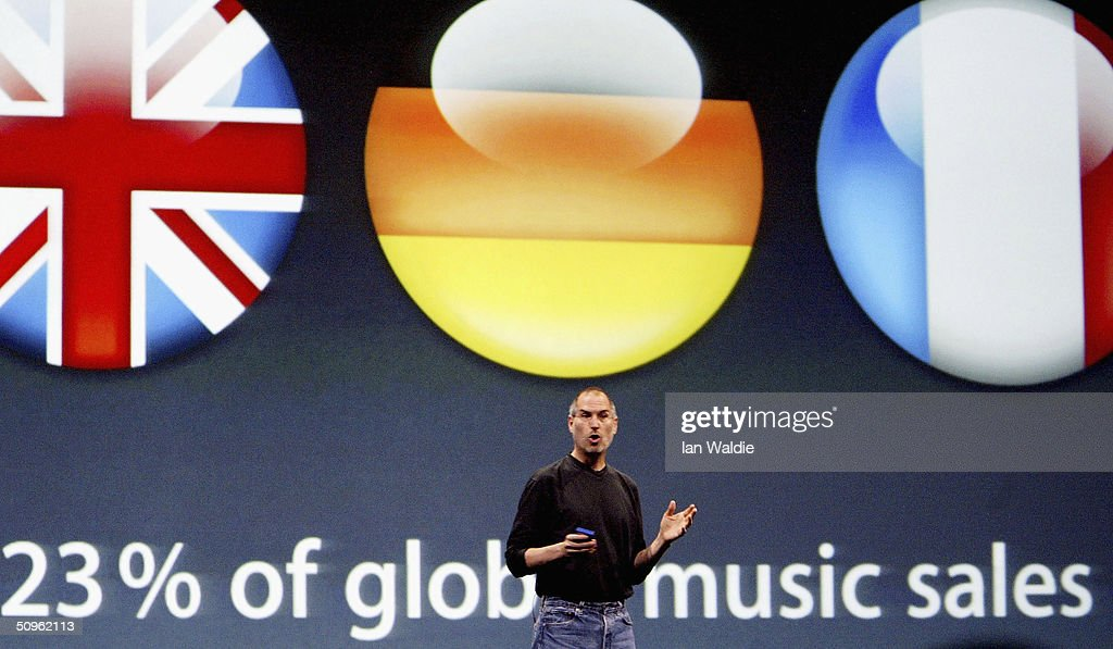 Steve Jobs, Chief Executive Officer of Apple computers, launches iTunes Music Store in the territories of Great Britain, Germany and France, on June 15, 2004 in London. The iTunes store allows users to buy and download albums or individual songs from a library of 700,000 songs.