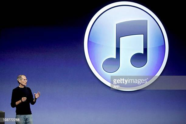 Steve Jobs chief executive officer of Apple Inc announces the release of new upgrades in the iPod Nano iPod Shuffle iPod Touch and iTunes at a press...