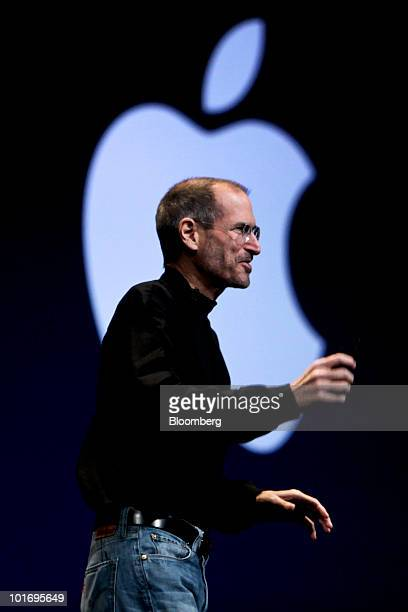 Steve Jobs chief executive officer of Apple Inc delivers his keynote address at the Apple Worldwide Developers Conference in San Francisco California...