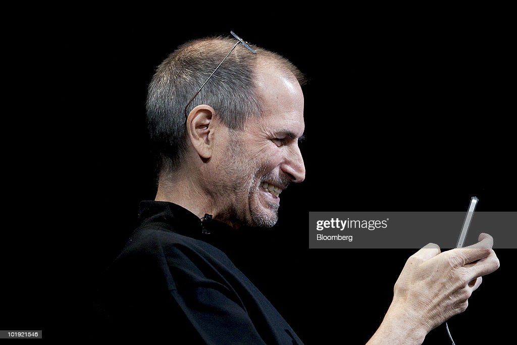 <a gi-track='captionPersonalityLinkClicked' href=/galleries/search?phrase=Steve+Jobs&family=editorial&specificpeople=204493 ng-click='$event.stopPropagation()'>Steve Jobs</a>, chief executive officer of Apple Inc., demonstrates the FaceTime video call functionality of the iPhone 4 during his keynote address at the Apple Worldwide Developers Conference (WWDC) in San Francisco, California, U.S., on Monday, June 7, 2010. Jobs introduced the redesigned iPhone 4 , delivering a 24 percent thinner body and 100 new features. Photographer: David Paul Morris/Bloomberg via Getty Images