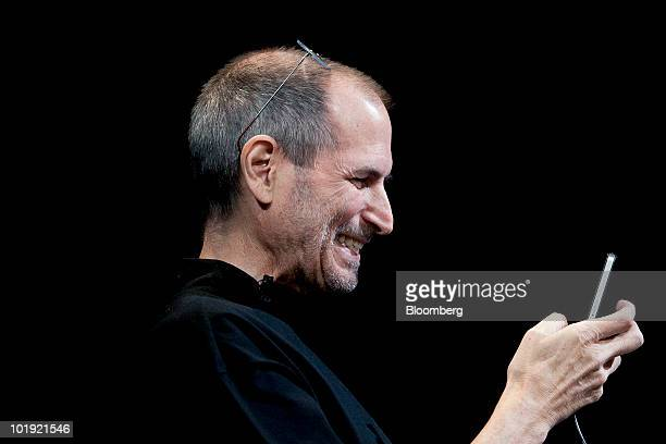 Steve Jobs chief executive officer of Apple Inc demonstrates the FaceTime video call functionality of the iPhone 4 during his keynote address at the...