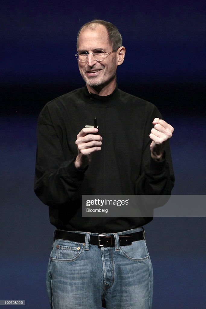 <a gi-track='captionPersonalityLinkClicked' href=/galleries/search?phrase=Steve+Jobs&family=editorial&specificpeople=204493 ng-click='$event.stopPropagation()'>Steve Jobs</a>, chief executive officer of Apple Inc., introduces the iPad 2 at an event in San Francisco, California, U.S., on Wednesday, March 2, 2011. Jobs, making his first public appearance since taking medical leave in January, unveiled a follow-up to a tablet computer released last April that has front and rear cameras, and a faster A5 chip. Photographer: David Paul Morris/Bloomberg via Getty Images