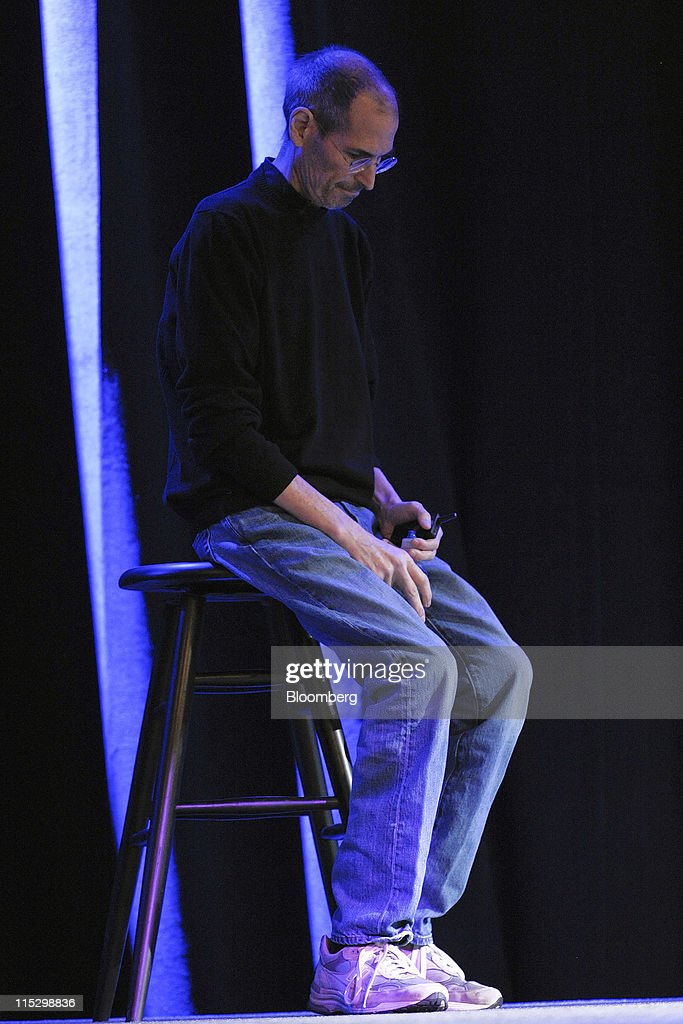 Steve Jobs, chief executive officer of Apple Inc., pauses while unveiling the iCloud storage system at the Apple Worldwide Developers Conference 2011 in San Francisco, California, U.S., on Monday, June 6, 2011. Apple is using iCloud to retain its dominance in the smartphone and tablet markets amid fresh competition from devices powered by Google Inc.'s Android software. Photographer: David Paul Morris/Bloomberg via Getty Images