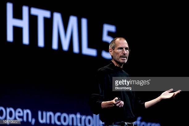 Steve Jobs chief executive officer of Apple Inc speaks about HTML 5 during his keynote address at the Apple Worldwide Developers Conference in San...