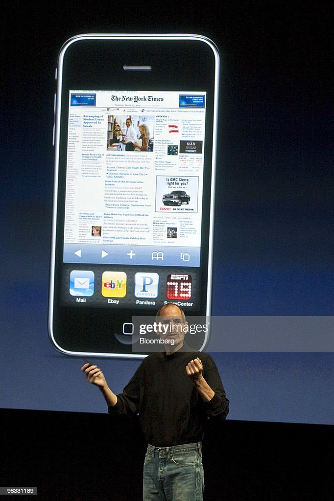 <a gi-track='captionPersonalityLinkClicked' href=/galleries/search?phrase=Steve+Jobs&family=editorial&specificpeople=204493 ng-click='$event.stopPropagation()'>Steve Jobs</a>, chief executive officer of Apple Inc., speaks during a presentation at the company's headquarters in Cupertino, California, U.S., on Thursday, April 8, 2010. Jobs said more than 450,000 iPad tablet computers have been sold in less than a week as he unveiled new software designed to make the iPhone more appealing to mobile users and developers. Photographer: Ryan Anson/Bloomberg via Getty Images