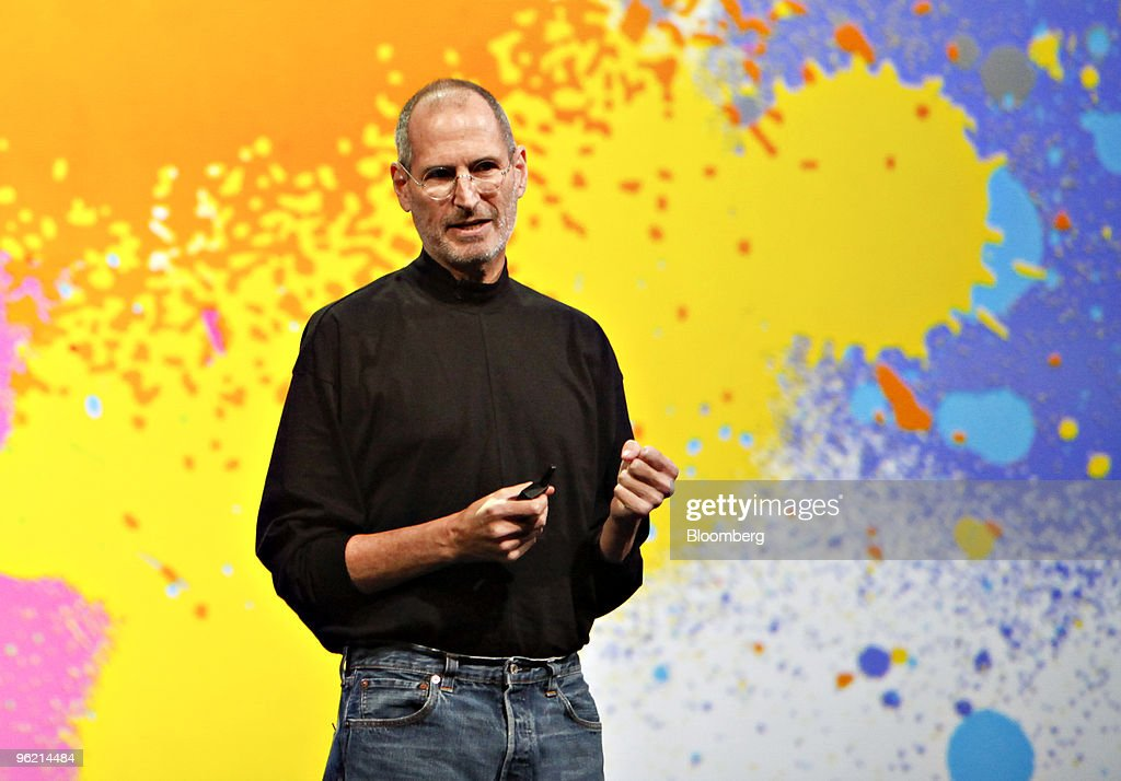 <a gi-track='captionPersonalityLinkClicked' href=/galleries/search?phrase=Steve+Jobs&family=editorial&specificpeople=204493 ng-click='$event.stopPropagation()'>Steve Jobs</a>, chief executive officer of Apple Inc., speaks during the debut of the Apple iPad tablet at the Yerba Buena Center for the Arts Theater in San Francisco, California, U.S., on Wednesday, Jan. 27, 2010. Apple Inc., seeking to revolutionize the publishing business in the same way the iPod transformed the music industry, unveiled a tablet computer starting at $499, a price that was 50 percent lower than some analysts predicted. Photographer: Tony Avelar/Bloomberg via Getty Images
