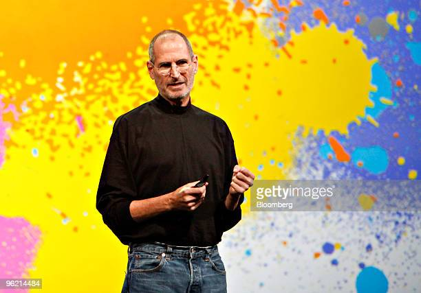 Steve Jobs chief executive officer of Apple Inc speaks during the debut of the Apple iPad tablet at the Yerba Buena Center for the Arts Theater in...